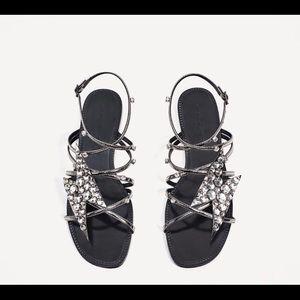Zara silver Lighting sandals